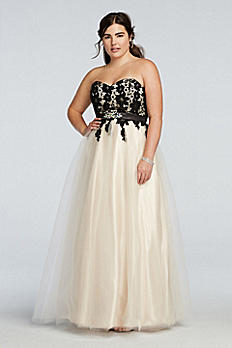 Strapless Lace Bodice Prom Dress with Tulle Skirt 3100250W