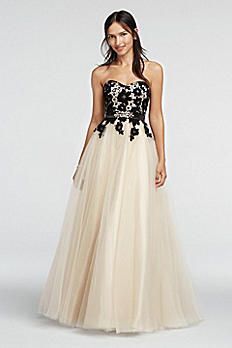 Strapless Lace Prom Dress with Tulle Skirt 3100250