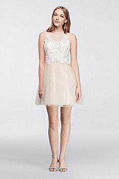 Short Halter Dress with Illusion Lace Neckline 3100899