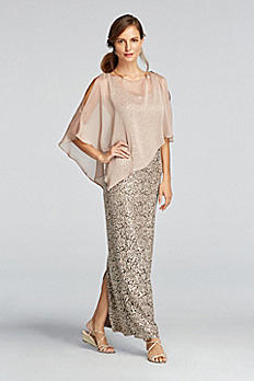 Sleeveless Sequin Lace Dress with Caplet 3112DB