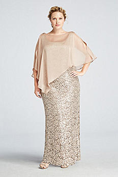 Sleeveless Sequin Lace Dress with Capelet 3112DW