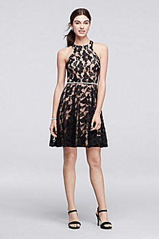 Lace Fit and Flare Halter Dress with Beaded Waist 3130NV3E