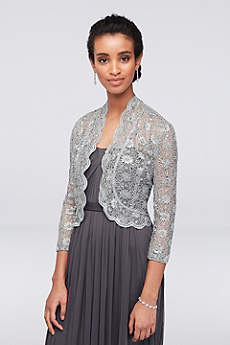 3/4 Sleeve Sequin Lace Jacket with Scalloped Trim