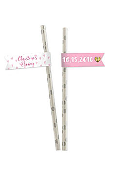Personalized Sweet Heart Party Straw Flags 31634NA