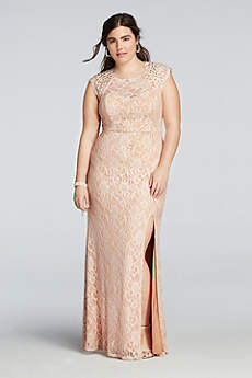 Beaded Cap Sleeve Prom Dress with Scalloped Neck