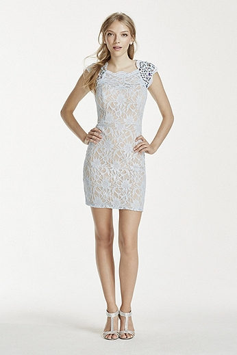 Crystal Embellished Cap Sleeve Lace Dress 3186NA4B