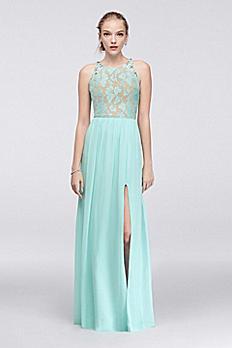 Sleeveless Glitter Lace and Chiffon Dress 3191SY9B