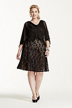 Short Lace Dress with Chiffon Caplet 3204DW