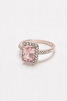 Radiant-Cut Blush Halo Ring 3264907