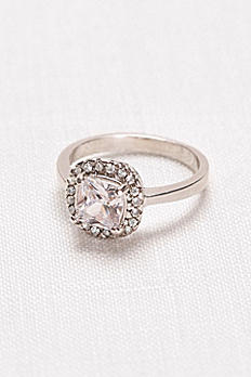 Cushion-Cut Crystal Halo Ring 3266637