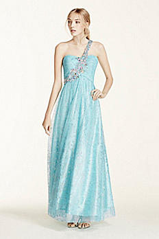 One Shoulder Tulle Prom Dress with Crystal Beading 328062D