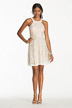 Short Lace Dress with Bead Embellished Waist 3283NV3E