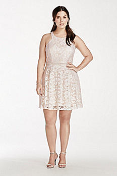 Short Lace Dress with Bead Embellished Waist 3283NV3W