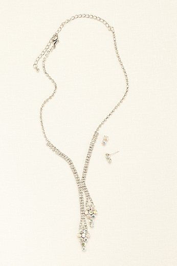 Crystal and Stone Y Necklace and Earring Set 32852N001