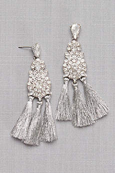 Thread Fringe Crystal Cluster Earrings