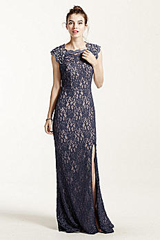 Long Lace Cap Sleeve Dress with Keyhole Back 3329MT4D