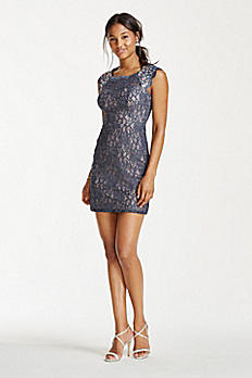 Crystal Beaded Cap Sleeve Glitter Lace Dress 3329NA4B