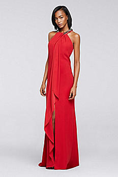 Cascading Crepe Dress with Beaded High Neckline 3372DB
