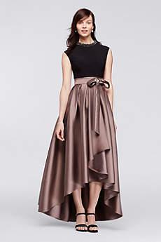 High Low Ballgown Cap Sleeves Dress -