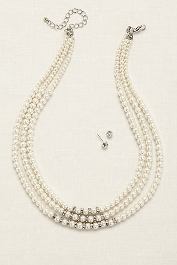 Three Row Pearl and Pave Rhinestone Set 3429N001