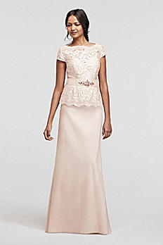Cap Sleeve Sequin Lace Mock Two Piece Dress 3467DB
