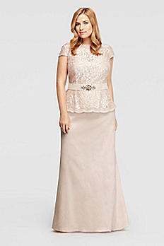 Cap Sleeve Sequined Lace Mock Two Piece Dress 3467DW