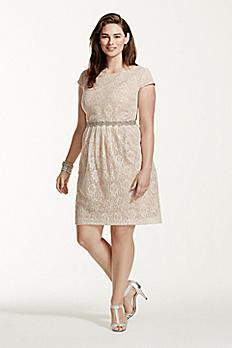 Short Lace Cap Sleeve Dress with Beaded Waist 3524FE5W