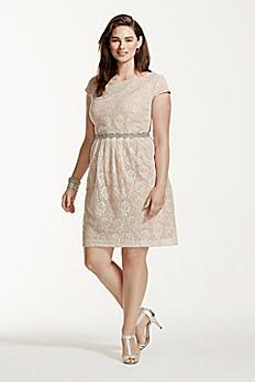 Short Lace Cap Sleeve Dress with Beaded Waist 3524FE5W