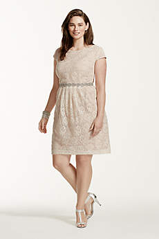Lace Cap Sleeve Plus Size Dress with Beaded Waist