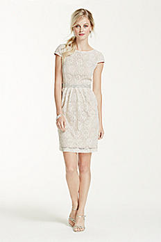 Short Lace Cap Sleeve Dress with Beaded Waist 3524FE5C