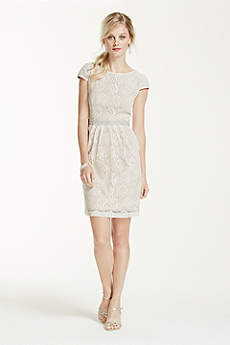 Short Sheath Cap Sleeves Graduation Dress - David's Bridal