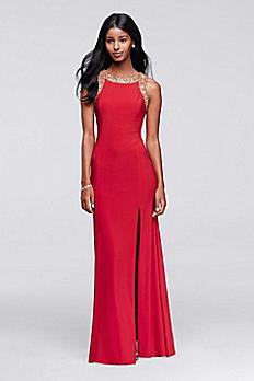 Long Embellished Party Dress With Side Slit 3539DB