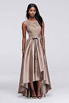 Sequin Lace Dress with Mikado Skirt 3552DB