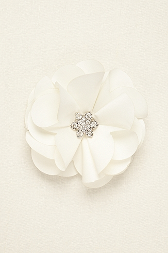 Fabric Flower Clip with Rhinestone Center 35986SC001
