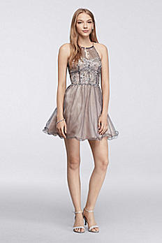 Short Dress with Beaded Halter Neckline 3600434D