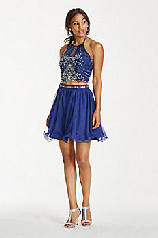 Embellished Halter Crop Top with Short Tulle Skirt 3600481