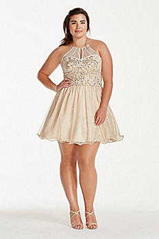 Illusion Crystal Beaded Short Chiffon Halter Dress 3600482W