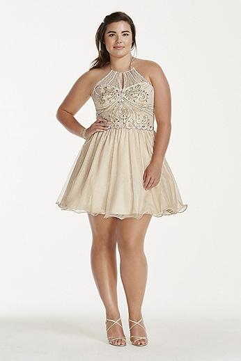 Illusion Crystal Beaded Short Chiffon Halter Dress 3600482W