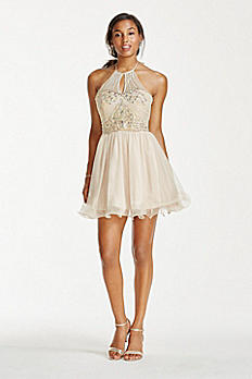 Illusion Crystal Beaded Short Chiffon Halter Dress 3600482