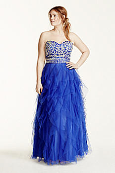 Cascading Ruffle Tulle Prom Dress with Crystals 360087DW