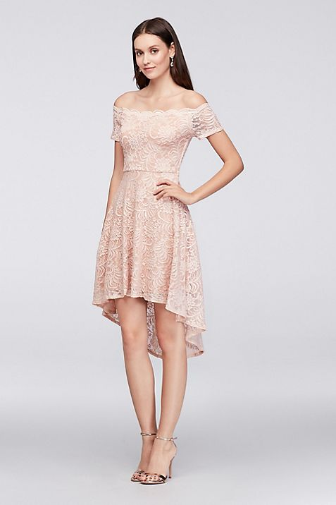 Off-the-Shoulder Lace High-Low Dress | David\'s Bridal