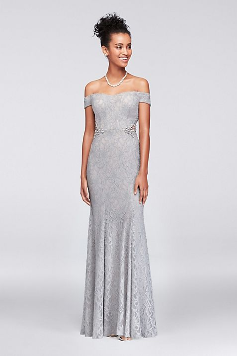 Lace Off-The-Shoulder Gown with Beaded Sides | David\'s Bridal