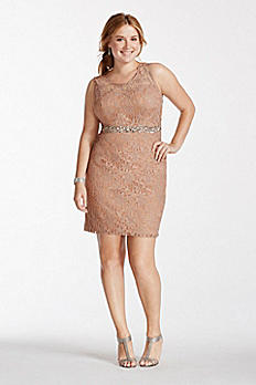 Illusion Lace Tank Short Dress with Sequin Waist 3622MS2NW