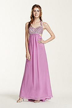 Beaded Halter Chiffon Dress with Cutout Detail 365
