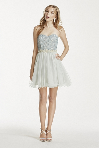 Sequin and Pearl Embellished Tulle Dress 3665YU2G