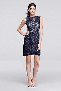 Short Sleeveless Lace Dress with Crystal Waist 3694KP4B