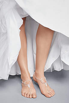 David's Bridal Grey Bracelets (Simple Crystal Drape Foot Jewelry with Toe Ring)