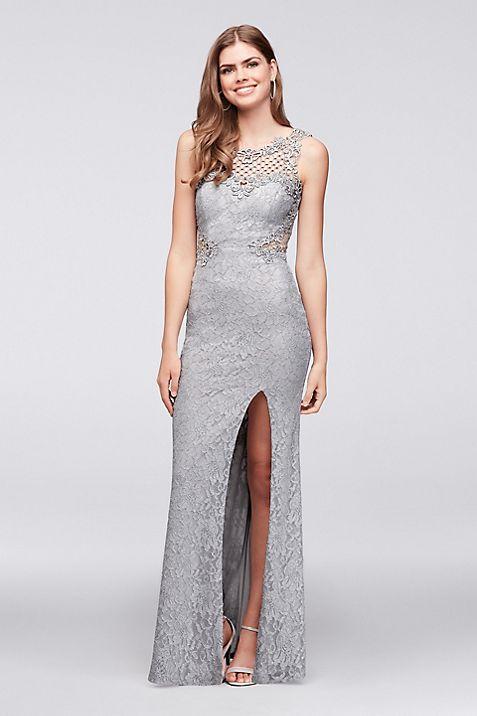 Glitter Lace Sheath Gown with Geometric Neckline | David\'s Bridal