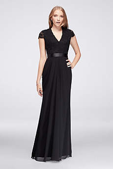 Long Chiffon Dress with Scalloped Lace Bodice