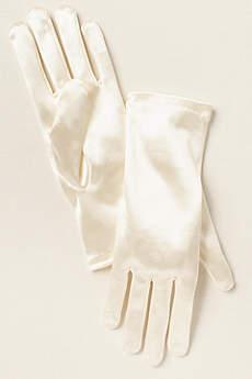 Girls Satin Wrist Length Gloves